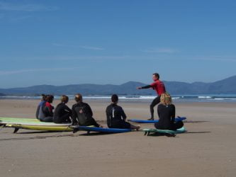 surf lessons at inch in county kerry ireland